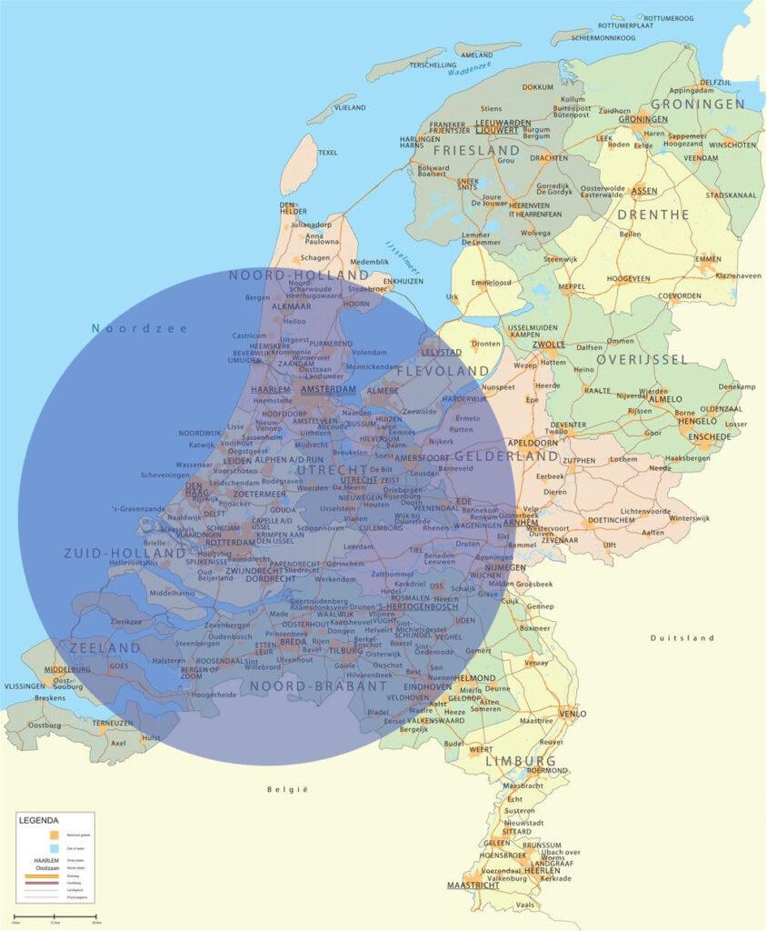 Landkaart Nederland Kappersscharen slijpen op locatie